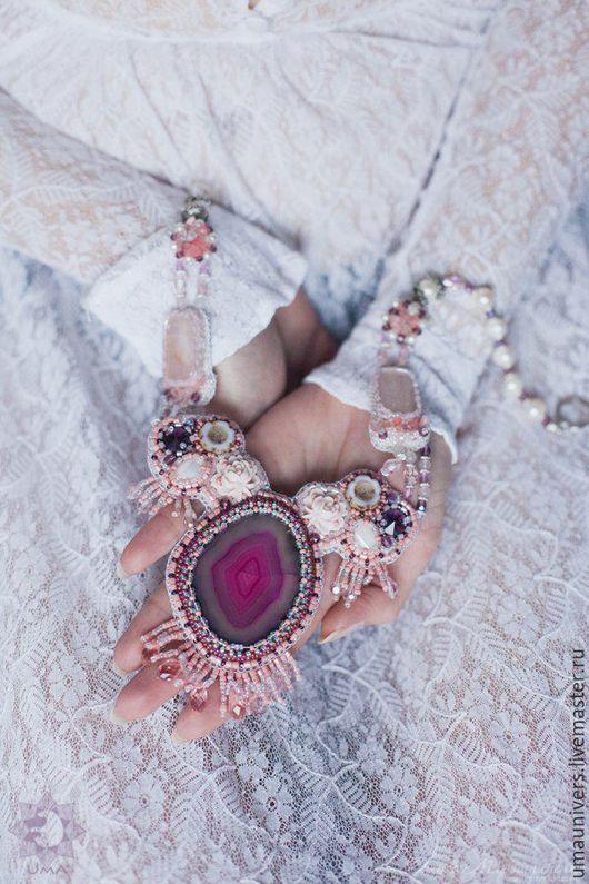 """Комплекты украшений ручной работы. Ярмарка Мастеров - ручная работа. Купить Комплект """"Marie Antoinette"""". Handmade. Розовый, колье с агатом"""