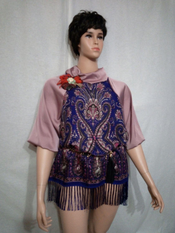 Блуза большого размера из Павлопосадского платка Шурочка, Блузки, Санкт-Петербург,  Фото №1