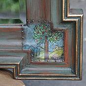 Для дома и интерьера ручной работы. Ярмарка Мастеров - ручная работа Большое настенное зеркало в деревянной раме Olive. Handmade.