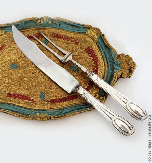 Антикварный набор для сервировки мяса,серебро ,Италия.