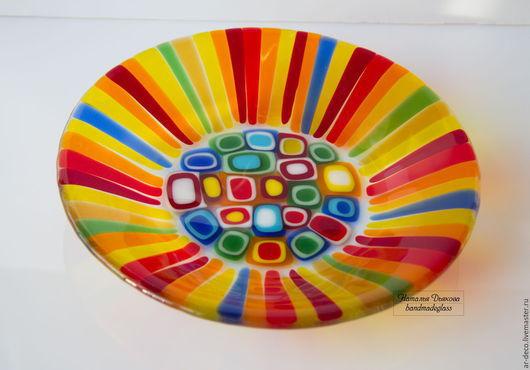 Тарелки ручной работы. Ярмарка Мастеров - ручная работа. Купить Блюдо из стекла Радужные полоски, 21 см, фьюзинг. Handmade.
