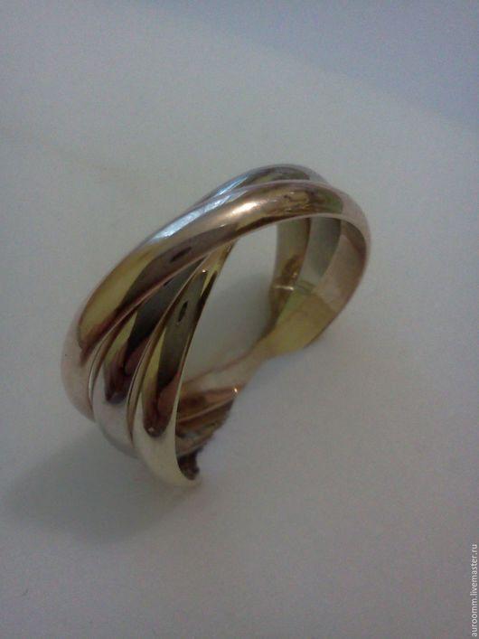 Кольца ручной работы. Ярмарка Мастеров - ручная работа. Купить Тройное кольцо три цвета,золото 585. Handmade. Золотой
