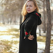 "Coats handmade. Livemaster - original item Knitted coat ""Royal Cape of the roses"". Handmade."