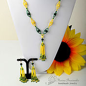 Украшения handmade. Livemaster - original item Beads and beaded earrings, agate Mischievous eyes yellow green. Handmade.