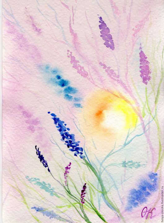 """Картины цветов ручной работы. Ярмарка Мастеров - ручная работа. Купить Картина - миниатюра """"Рассвет""""(акварель). Handmade. Картина прованс, прованс"""