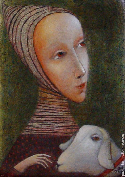 """Репродукции ручной работы. Ярмарка Мастеров - ручная работа. Купить """"Нежность""""(девушка с овечкой), авторская печать.. Handmade. Овечка, год овцы"""