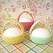 Подарки к праздникам ручной работы. Ярмарка Мастеров - ручная работа Пасхальная корзинка для яйца (вязаное лукошко для пасхального декора). Handmade.
