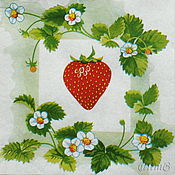 Материалы для творчества handmade. Livemaster - original item 7pcs napkins decoupage garden strawberry flowers print. Handmade.