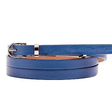 Аксессуары ручной работы. Ярмарка Мастеров - ручная работа Узкий кожаный синий ремень. Handmade.