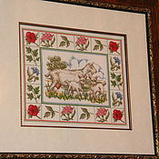 """Картины и панно ручной работы. Ярмарка Мастеров - ручная работа Вышитая картина """"Козочки"""". Handmade."""