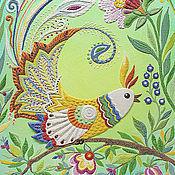 """Для дома и интерьера ручной работы. Ярмарка Мастеров - ручная работа """"Птица счастья"""" панно из песка. Handmade."""