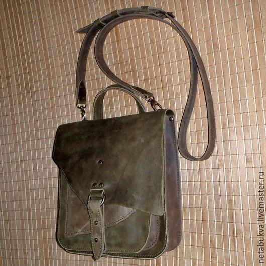 Мужские сумки ручной работы. Ярмарка Мастеров - ручная работа. Купить Как я люблю - 2 )). Handmade. Хаки, кожа