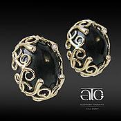 Украшения handmade. Livemaster - original item Gold earrings with salami and CZ. 585.. Handmade.
