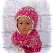 Шапки ручной работы. Ярмарка Мастеров - ручная работа Вязаная шапка и шарф для девочки, комплект аксессуаров на весну. Handmade.