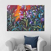 """Картины и панно ручной работы. Ярмарка Мастеров - ручная работа """"Дикие орхидеи"""" 100х70 см большая картина маслом мастихином цветы. Handmade."""