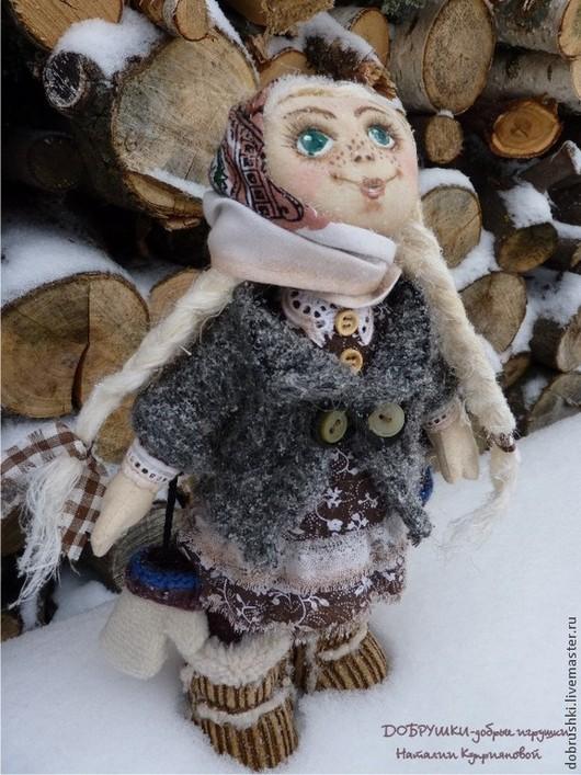 Текстильная кукла Дуняша. ДОБРУШКИ-добрые игрушки Наталии Куприяновой. 28см.