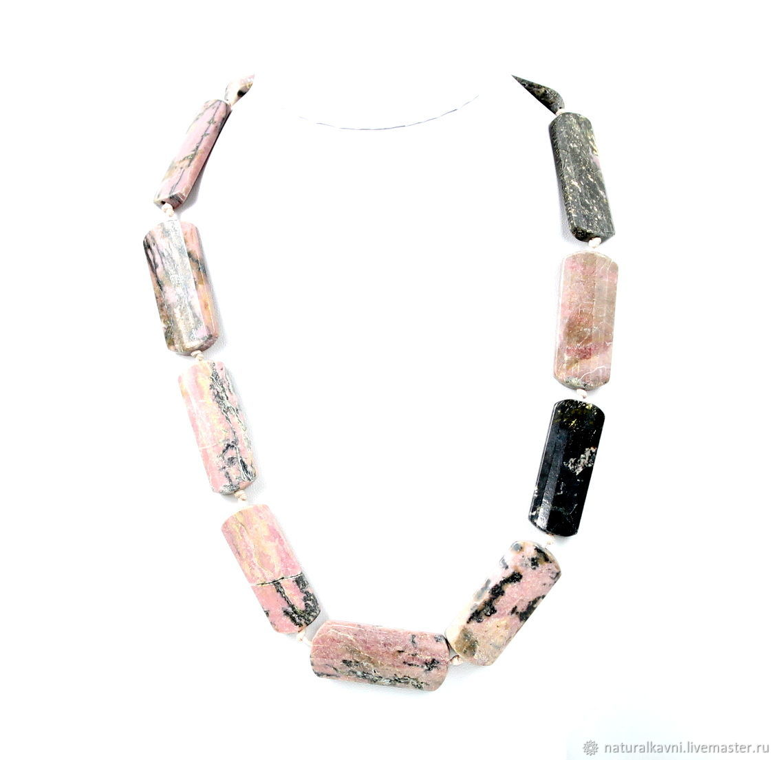 Large beads made of natural stone rhodonite, Beads2, Moscow,  Фото №1