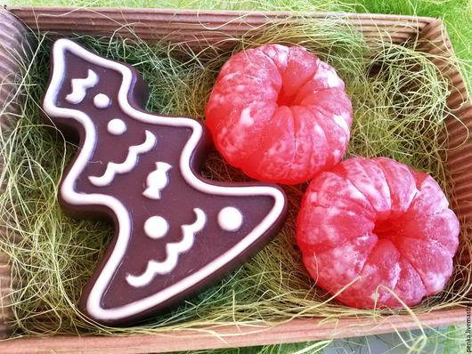 Персональные подарки ручной работы. Ярмарка Мастеров - ручная работа. Купить Набор мыла новогодний пряничная елка с мандаринами. Handmade.