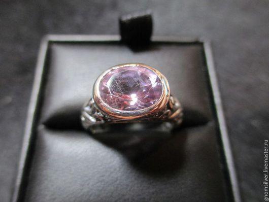 Кольца ручной работы. Ярмарка Мастеров - ручная работа. Купить Авторское орнаментальное кольцо с фиолетовым аметистом из Бразилии. Handmade. Сиреневый