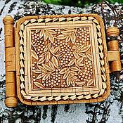 Сувениры и подарки handmade. Livemaster - original item The mirror is made of birch bark pocket. Handmade.