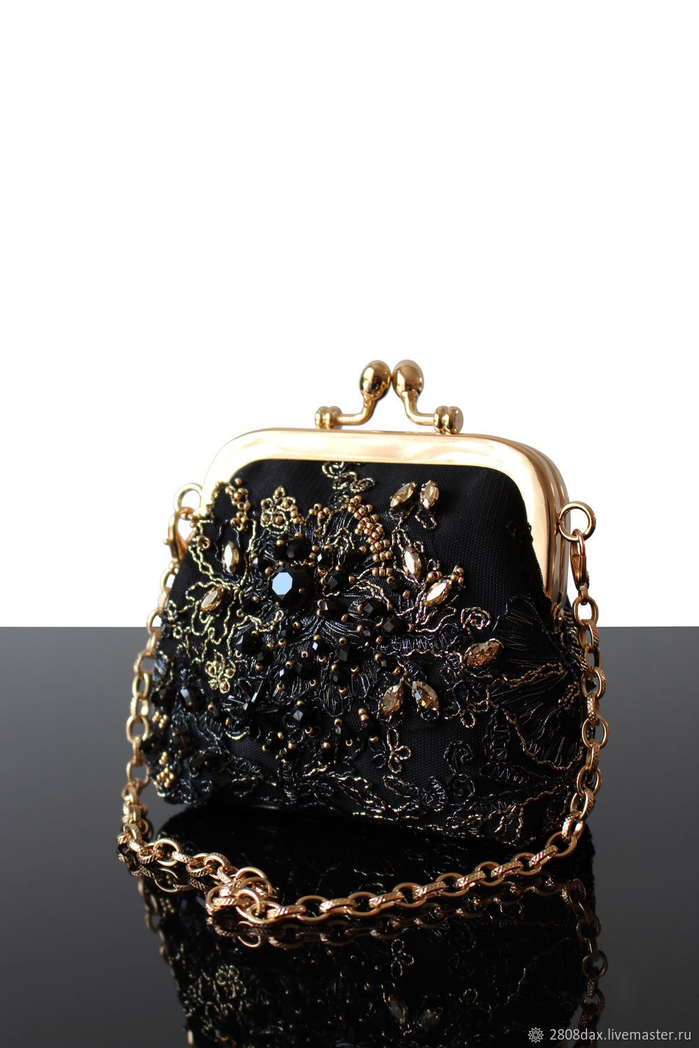 Black Small Evening Bag with Embroidery, Wallets, Bordeaux,  Фото №1