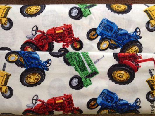 Шитье ручной работы. Ярмарка Мастеров - ручная работа. Купить Ткань для пэчворка и шитья  Синий трактор-р. Handmade. Трактор