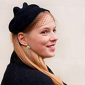 Аксессуары ручной работы. Ярмарка Мастеров - ручная работа коктейльная шляпка «черная вуалетка».. Handmade.