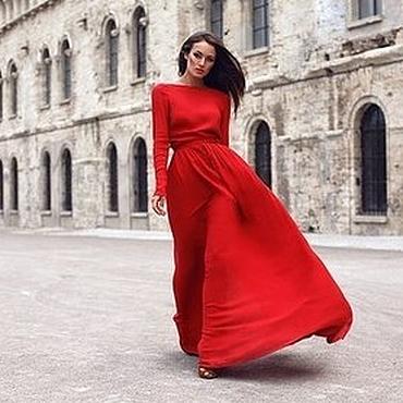 Одежда ручной работы. Ярмарка Мастеров - ручная работа Красное вечернее платье в пол. Handmade.