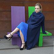 Пальто ручной работы. Ярмарка Мастеров - ручная работа Пальто трансформер лоден темно синий. Handmade.