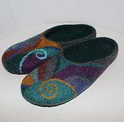 """Обувь ручной работы. Ярмарка Мастеров - ручная работа Тапочки валяные """"Изумрудная мозаика"""". Handmade."""