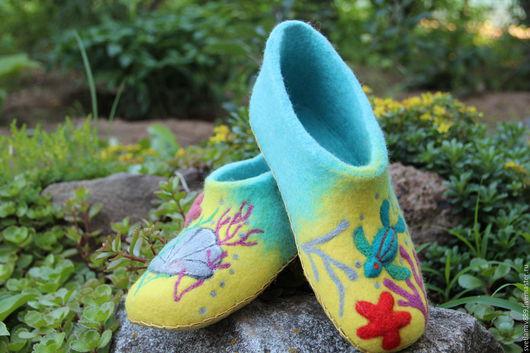 Обувь ручной работы. Ярмарка Мастеров - ручная работа. Купить Тапки  валяные Морские. Handmade. Комбинированный, Валяние, шерсть
