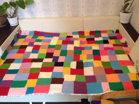 Текстиль, ковры ручной работы. Ярмарка Мастеров - ручная работа. Купить Плед вязаный двуспальный. Handmade. Разноцветный, плед вязаный