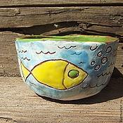"""Посуда ручной работы. Ярмарка Мастеров - ручная работа Пиала для чая """"Золотая рыбка"""". Handmade."""