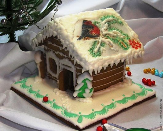 Пряничный дом `Снегирь прилетел` Ветка и ели