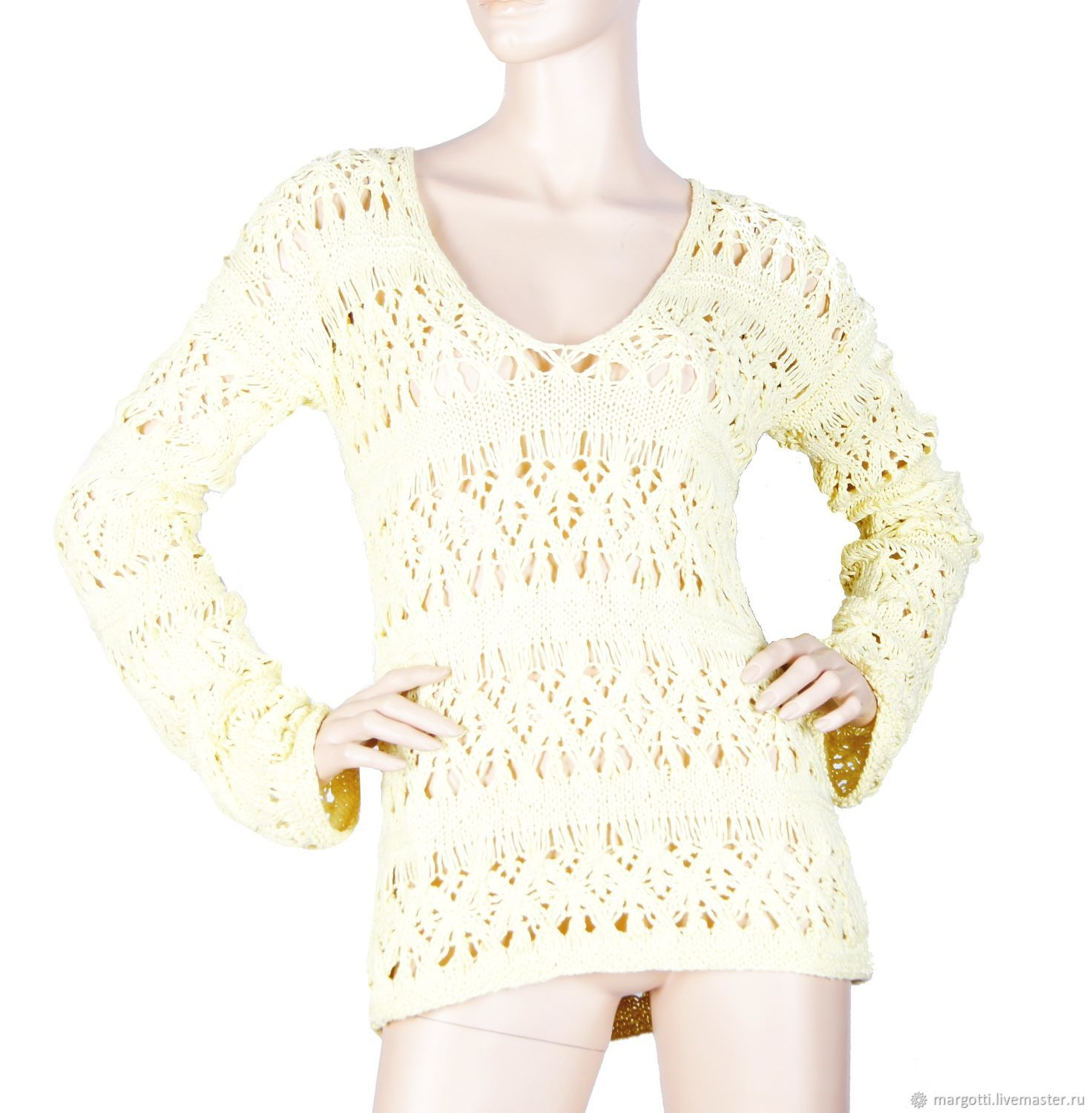 Summer openwork jumper lemon color cotton, Shirts-nets, Nelidovo,  Фото №1
