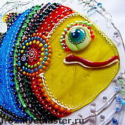 Картины и панно handmade. Livemaster - original item panels of glass, fusing the Golden carp. Handmade.
