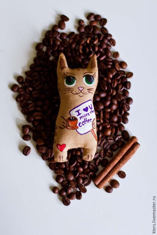 """Персональные подарки ручной работы. Ярмарка Мастеров - ручная работа. Купить Кофейный кот """"I love you more than coffee"""". Handmade."""
