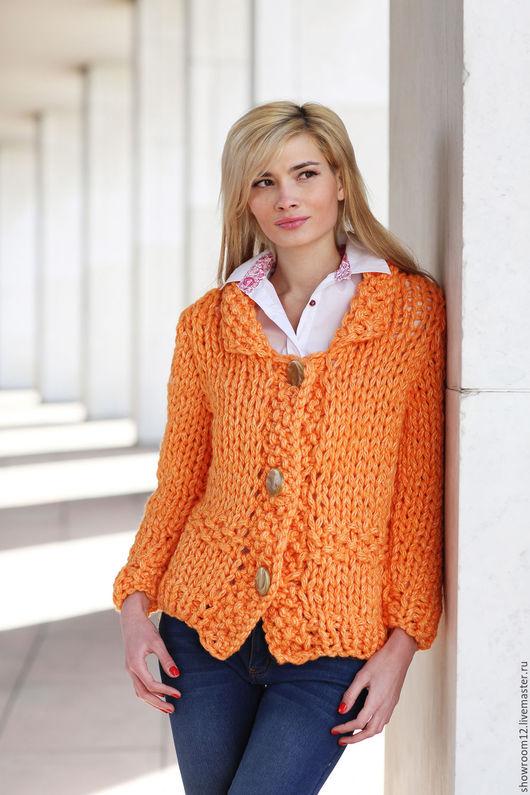 Кофты и свитера ручной работы. Ярмарка Мастеров - ручная работа. Купить Трикотажная кофта цвета апельсина. Handmade. Оранжевый, куртка