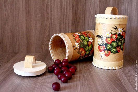 Кухня ручной работы. Ярмарка Мастеров - ручная работа. Купить Туес из бересты расписной (для чая соли сахара). Handmade.