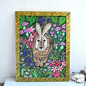 Картины и панно handmade. Livemaster - original item Painting on silk hare hare field colors. Handmade.