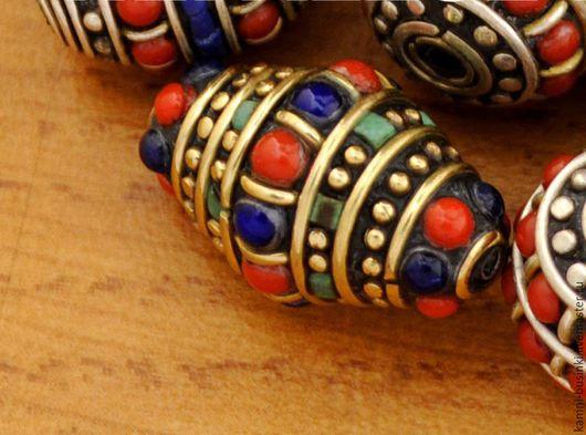 Для украшений ручной работы. Ярмарка Мастеров - ручная работа. Купить Бусины биконусы коралл бирюза ручной работы Непал. Handmade.