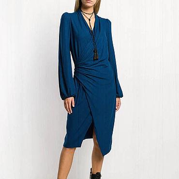 Одежда. Ярмарка Мастеров - ручная работа Синее платье женское 803В. Handmade.