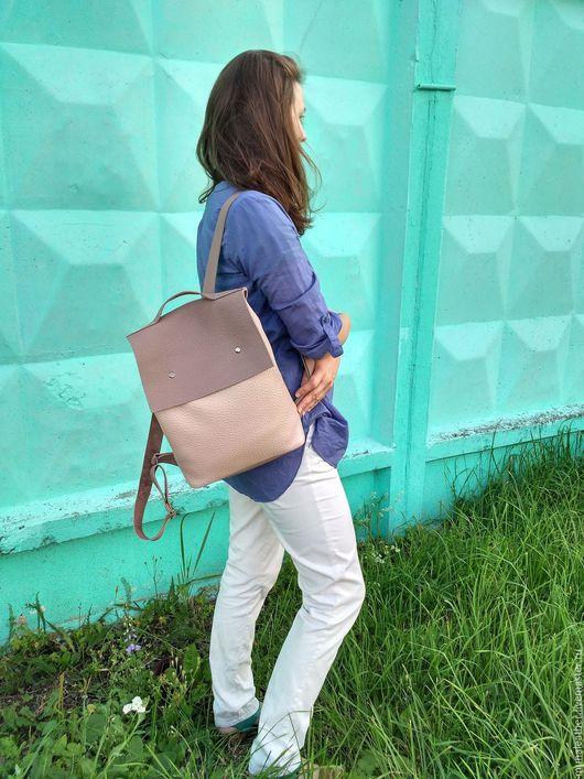 Рюкзаки ручной работы. Ярмарка Мастеров - ручная работа. Купить Кожаный рюкзак пыльная роза. Городской рюкзак из кожи.. Handmade.