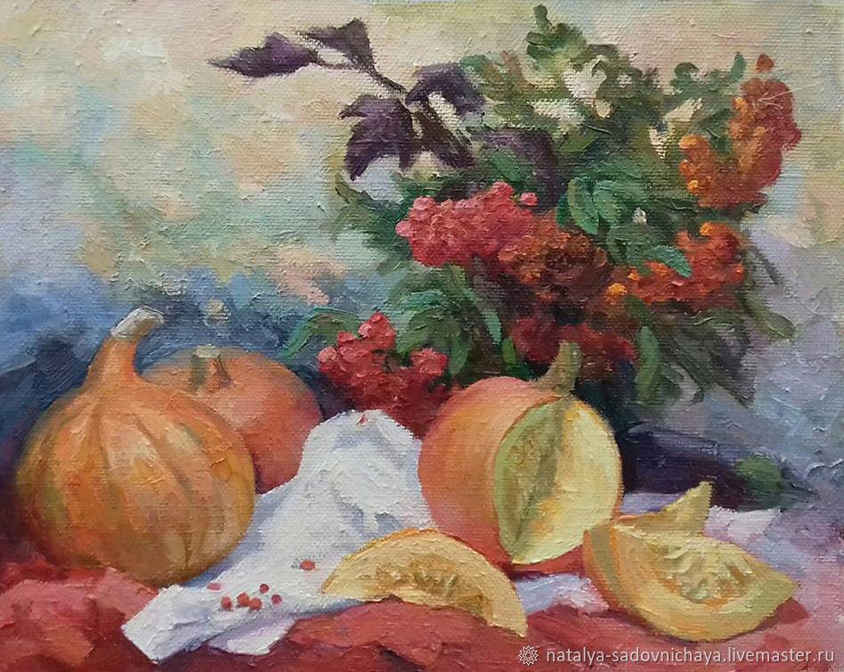Картина: Тыквы. Осенний натюрморт. холст, масло, 40х50, Картины, Новосибирск,  Фото №1