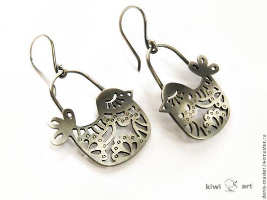Ярмарка Мастеров, Kiwi Art Studio, серьги из серебра, серебряные серьги, серьги серебро, авторский дизайн, украшения в стиле минимализм, серьги в стиле минимализм