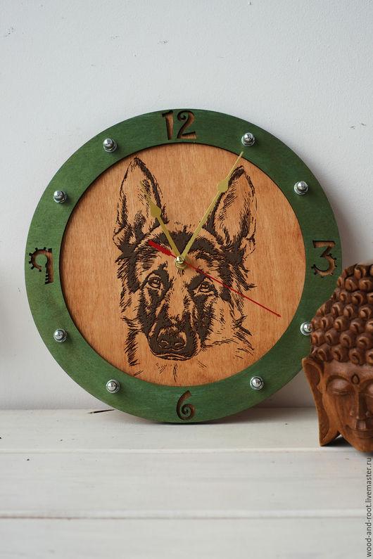 Часы для дома ручной работы. Ярмарка Мастеров - ручная работа. Купить Часы настенные Немецкая овчарка. Handmade. Коричневый, питомец