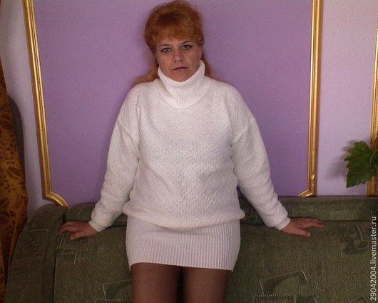 Кофты и свитера ручной работы. Ярмарка Мастеров - ручная работа. Купить Теплое платье - свитер.. Handmade. Белый, туника