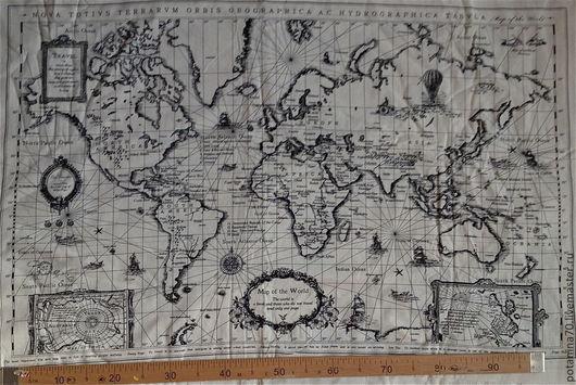 Шитье ручной работы. Ярмарка Мастеров - ручная работа. Купить ткань Карта Мира. Handmade. Бежевый, ткань для интерьра