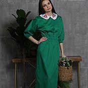 Одежда handmade. Livemaster - original item Cotton sateen dress with collar. Handmade.