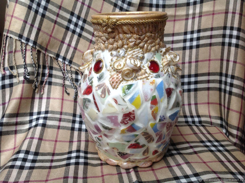 Мозаичная керамическая ваза, Вазы, Одинцово,  Фото №1